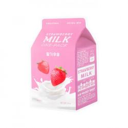 Осветляющая тканевая маска с молочными протеинами и экстрактом клубники A'Pieu Strawberry Milk One-Pack