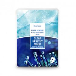 Тканевая лифтинг-маска для сияния кожи с морским коллагеном и экстрактами водорослей Deoproce Color Synergy Effect Sheet Mask Blue