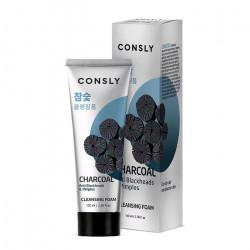 Пенка для умывания с древесным углём против чёрных точек Consly Charcoal Anti Blackheads&Pimples Creamy Cleansing Foam