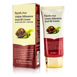 Восстанавливающий BB крем для лица с улиточным муцином FarmStay Visible Difference Snail BB Cream
