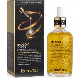 Антивозрастная премиум сыворотка для лица с золотом и пептидами  FarmStay 24K Gold Solution Perfect Ampoule