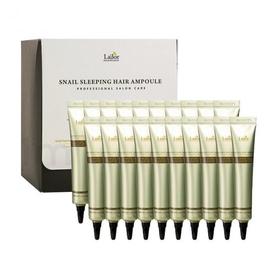 Ночная восстанавливающая сыворотка для волос Lador Snail Sleeping Clinic Ampoule