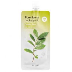 Ночная успокаивающая маска для лица с экстрактом зелёного чая Missha Pure Source Pocket Pack - Green Tea