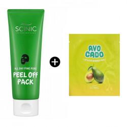 Черная маска-плёнка для очищения пор и контроля жирного блеска на коже лица Scinic All Day Fine Pore Peel Off Pack + спонж для снятия макияжа