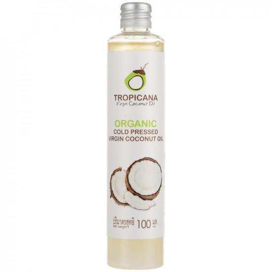 100% натуральное кокосовое масло первого холодного отжима Tropicana Organic Cold Pressed Virgin Coconut Oil 100% 100 мл