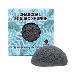 Очищающий спонж конняку с древесным углем для чувствительной и проблемной кожуTrimay Charcoal Konjac Sponge