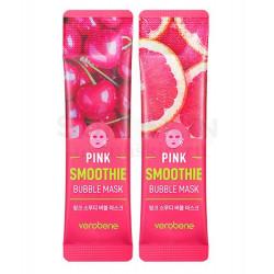 Кислородная очищающая маска смузи для лица с фруктами Verobene Pink Smoothie Bubble Mask